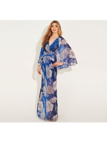 Blue And Grey Printed Chiffon Kew Maxi Dress - style: faux wrap/wrap; neckline: low v-neck; sleeve style: kimono; waist detail: belted waist/tie at waist/drawstring; secondary colour: white; predominant colour: royal blue; occasions: evening, occasion, holiday; length: floor length; fit: body skimming; fibres: polyester/polyamide - 100%; sleeve length: long sleeve; texture group: sheer fabrics/chiffon/organza etc.; trends: high impact florals; pattern type: fabric; pattern size: big & busy; pattern: patterned/print