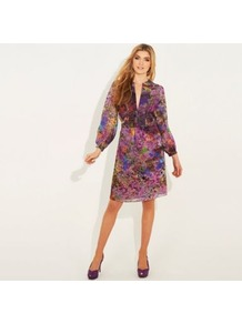 Multi Printed St. Martins Chiffon Dress - style: shift; neckline: low v-neck; fit: fitted at waist; sleeve style: balloon; secondary colour: purple; occasions: evening, work, occasion; length: just above the knee; fibres: polyester/polyamide - 100%; predominant colour: multicoloured; sleeve length: long sleeve; texture group: sheer fabrics/chiffon/organza etc.; pattern type: fabric; pattern size: small & busy; pattern: patterned/print