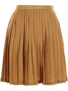 Mustard Kelsey Skirt - length: mid thigh; fit: loose/voluminous; style: pleated; waist: high rise; pattern: polka dot; predominant colour: mustard; occasions: casual, evening, work; fibres: polyester/polyamide - 100%; hip detail: structured pleats at hip; texture group: sheer fabrics/chiffon/organza etc.; pattern type: fabric; pattern size: small & busy