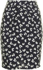 Navy Lydia Skirt - style: pencil; fit: tailored/fitted; waist: high rise; waist detail: structured pleats at waist; secondary colour: white; predominant colour: navy; occasions: evening, work; length: just above the knee; fibres: polyester/polyamide - 100%; pattern type: fabric; pattern size: small &amp; busy; pattern: florals; texture group: other - light to midweight