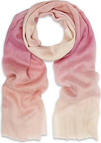 Raspberry Ombre Stripe Scarf - predominant colour: blush; occasions: casual, evening, work, holiday; type of pattern: light; style: regular; size: standard; material: knits; pattern: tie dye