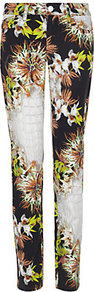 Floral Croc Print Skinny Jean - style: skinny leg; length: standard; pocket detail: traditional 5 pocket; waist: mid/regular rise; predominant colour: black; occasions: casual, evening, holiday; fibres: cotton - stretch; texture group: denim; trends: high impact florals, statement prints; pattern type: fabric; pattern size: big & busy; pattern: florals
