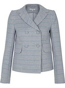 Denim Jacquard Jacket - pattern: plain; style: double breasted blazer; shoulder detail: shoulder pads; bust detail: added detail/embellishment at bust; collar: standard lapel/rever collar; predominant colour: light grey; occasions: casual, evening, work, holiday; length: standard; fit: straight cut (boxy); fibres: cotton - 100%; back detail: back vent/flap at back; sleeve length: long sleeve; sleeve style: standard; collar break: medium; pattern type: fabric; pattern size: small & light; texture group: brocade/jacquard