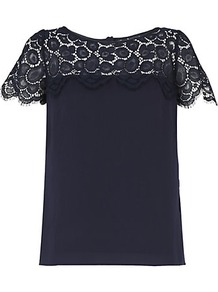 Mila Scalloped Lace Top - pattern: plain; bust detail: sheer at bust; predominant colour: black; occasions: evening, work; length: standard; style: top; neckline: scoop; fibres: cotton - mix; fit: straight cut; back detail: embellishment at back; sleeve length: short sleeve; sleeve style: standard; texture group: lace; pattern type: fabric; pattern size: standard