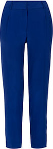 Nicole Silk Trousers - pattern: plain; waist: mid/regular rise; predominant colour: royal blue; occasions: evening, work, occasion; length: ankle length; fibres: polyester/polyamide - mix; texture group: crepes; fit: slim leg; pattern type: fabric; pattern size: standard; style: standard