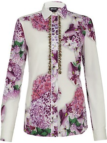 Floral Print Shirt - neckline: shirt collar/peter pan/zip with opening; style: shirt; bust detail: buttons at bust (in middle at breastbone)/zip detail at bust; occasions: casual, evening, work; length: standard; fibres: cotton - stretch; fit: body skimming; predominant colour: multicoloured; sleeve length: long sleeve; sleeve style: standard; texture group: cotton feel fabrics; trends: high impact florals; pattern type: fabric; pattern size: big &amp; busy; pattern: florals