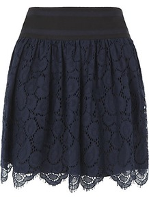 Margaret Scalloped Lace Skirt - length: mid thigh; style: full/prom skirt; fit: loose/voluminous; waist detail: wide waistband/cummerbund; waist: mid/regular rise; predominant colour: navy; occasions: evening, work, occasion; fibres: cotton - mix; hip detail: ruching/gathering at hip; texture group: lace; trends: volume; pattern type: fabric; pattern size: standard; pattern: florals