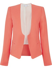 Feriha Crepe Jacket - pattern: plain; style: single breasted blazer; collar: standard lapel/rever collar; predominant colour: coral; occasions: evening, work, occasion; length: standard; fit: tailored/fitted; fibres: polyester/polyamide - mix; sleeve length: long sleeve; sleeve style: standard; texture group: crepes; trends: tuxedo; collar break: medium; pattern type: fabric; pattern size: standard