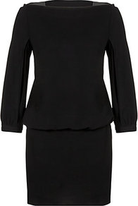 Carmela Dress - style: shift; length: mid thigh; neckline: slash/boat neckline; fit: fitted at waist; pattern: plain; waist detail: fitted waist; sleeve style: balloon; predominant colour: black; occasions: casual, evening, work, occasion; fibres: polyester/polyamide - stretch; shoulder detail: added shoulder detail; sleeve length: 3/4 length; hip detail: ruffles/tiers/tie detail at hip; pattern type: fabric; texture group: jersey - stretchy/drapey