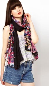 Floral Scarf - predominant colour: black; occasions: casual, work; type of pattern: heavy; style: regular; size: large; material: fabric; pattern: florals; trends: high impact florals