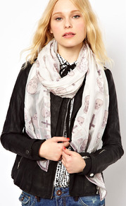 Devore Skull & Cross Scarf - predominant colour: ivory; occasions: casual, evening, work, holiday; type of pattern: standard; style: regular; size: standard; material: fabric; trends: statement prints; pattern: patterned/print