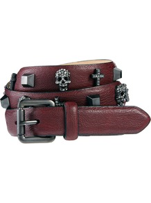 Stud Cross Skull Belt - predominant colour: burgundy; occasions: casual, evening, holiday; type of pattern: small; style: classic; size: standard; worn on: hips; material: faux leather; embellishment: studs; pattern: plain; finish: plain