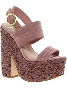 Heard Platforms - predominant colour: pink; occasions: casual, evening, holiday; material: suede; heel height: high; embellishment: buckles; ankle detail: ankle strap; heel: platform; toe: open toe/peeptoe; style: standard; finish: plain; pattern: plain