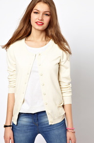 A Wear Basic Cardigan - neckline: round neck; pattern: plain; predominant colour: ivory; occasions: casual, work; length: standard; style: standard; fibres: cotton - mix; fit: standard fit; sleeve length: long sleeve; sleeve style: standard; texture group: knits/crochet; pattern type: knitted - other; pattern size: standard