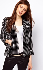 Blazer In Spot Print - style: single breasted blazer; collar: round collar/collarless; fit: loose; pattern: polka dot; secondary colour: white; predominant colour: black; occasions: casual, evening, work, occasion, holiday; length: standard; fibres: polyester/polyamide - 100%; shoulder detail: flat/draping pleats/ruching/gathering at shoulder; sleeve length: 3/4 length; sleeve style: standard; texture group: cotton feel fabrics; collar break: low/open; pattern type: fabric; pattern size: small & busy