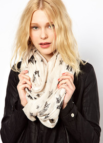Star Print Snood - predominant colour: ivory; secondary colour: black; occasions: casual, work, holiday; type of pattern: light; style: snood; size: standard; material: fabric; pattern: patterned/print