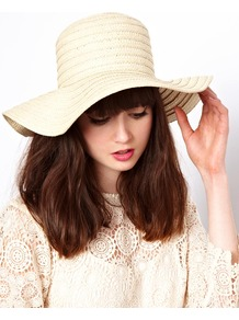 Straw Floppy Hat - predominant colour: ivory; occasions: casual, holiday; type of pattern: standard; style: wide brimmed; size: large; material: macrame/raffia/straw; pattern: plain