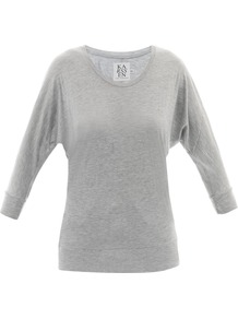 Batwing Basic T Shirt - sleeve style: dolman/batwing; pattern: plain; style: t-shirt; predominant colour: light grey; occasions: casual; length: standard; neckline: scoop; fibres: viscose/rayon - 100%; fit: loose; sleeve length: 3/4 length; pattern type: fabric; pattern size: standard; texture group: jersey - stretchy/drapey