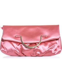 Satin Fold Over Clutch - predominant colour: pink; occasions: evening, occasion; type of pattern: standard; style: clutch; length: hand carry; size: small; material: satin; pattern: plain; finish: plain