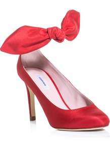 Silk Bow Shoes - predominant colour: true red; occasions: evening, occasion; material: satin; heel height: high; ankle detail: ankle strap; heel: stiletto; toe: pointed toe; style: courts; finish: plain; pattern: plain; embellishment: bow