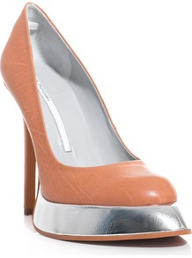 Sweeper Sole Shoes - predominant colour: nude; occasions: evening, occasion; material: leather; heel height: high; heel: platform; toe: pointed toe; style: courts; trends: metallics; finish: plain; pattern: plain