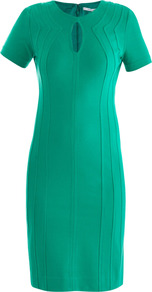 Kader Dress - style: shift; pattern: plain; waist detail: fitted waist; predominant colour: emerald green; occasions: evening, work, occasion; length: on the knee; fit: body skimming; fibres: polyester/polyamide - stretch; neckline: crew; sleeve length: short sleeve; sleeve style: standard; trends: glamorous day shifts; pattern type: fabric; pattern size: standard; texture group: jersey - stretchy/drapey