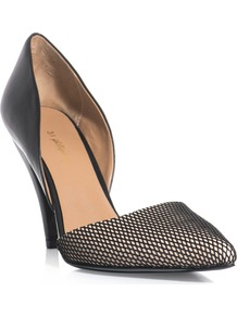 Mesh Toe Shoes - predominant colour: black; occasions: evening, work, occasion; material: leather; heel height: high; heel: stiletto; toe: open toe/peeptoe; style: courts; finish: plain; pattern: plain
