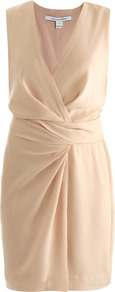 Beyatta Dress - style: faux wrap/wrap; neckline: v-neck; pattern: plain; sleeve style: sleeveless; waist detail: fitted waist; predominant colour: nude; occasions: evening, work, occasion; length: just above the knee; fit: body skimming; fibres: polyester/polyamide - mix; hip detail: structured pleats at hip; sleeve length: sleeveless; trends: glamorous day shifts; bust detail: tiers/frills/bulky drapes/pleats; pattern type: fabric; pattern size: standard; texture group: jersey - stretchy/drapey
