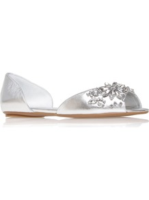 Bouycrazy - predominant colour: silver; occasions: casual, evening, holiday; material: leather; heel height: flat; embellishment: jewels; toe: open toe/peeptoe; style: ballerinas / pumps; trends: metallics; finish: metallic; pattern: plain