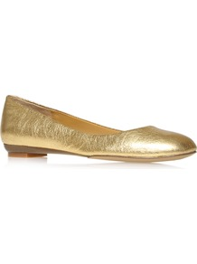 Guzzler - predominant colour: gold; occasions: casual, evening; material: leather; heel height: flat; toe: round toe; style: ballerinas / pumps; trends: metallics; finish: metallic; pattern: plain