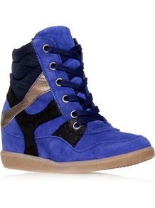 Lazer - predominant colour: royal blue; occasions: casual; material: suede; heel height: flat; toe: round toe; style: trainers; trends: sporty redux; finish: plain; pattern: plain