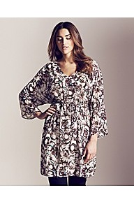 Project D London Empire Belted Print Kaftan Tuni - neckline: low v-neck; sleeve style: kimono; style: kaftan; predominant colour: black; occasions: casual; fibres: polyester/polyamide - 100%; fit: empire; length: mid thigh; sleeve length: long sleeve; texture group: sheer fabrics/chiffon/organza etc.; pattern type: fabric; pattern size: standard; pattern: patterned/print