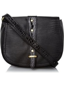 Studded Cross Body Bag Black - predominant colour: black; occasions: casual, work; type of pattern: light; style: saddle; length: across body/long; size: small; material: faux leather; embellishment: studs; pattern: plain; finish: patent