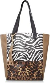 Animal Print Shopper Bag Wheat - predominant colour: camel; occasions: casual, work, holiday; type of pattern: heavy; style: tote; length: shoulder (tucks under arm); size: oversized; material: faux leather; embellishment: tassels; pattern: animal print; trends: statement prints; finish: plain