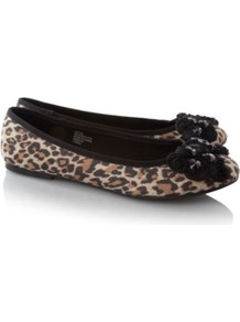 Animal Print Bow Ballerina Shoes Multi - predominant colour: tan; occasions: casual, work; material: fabric; heel height: flat; toe: round toe; style: ballerinas / pumps; finish: plain; pattern: animal print; embellishment: bow