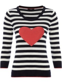 Stripe Knit Heart Jumper Multi - neckline: round neck; pattern: horizontal stripes; style: standard; occasions: casual; length: standard; fibres: cotton - 100%; fit: slim fit; waist detail: fitted waist; sleeve length: 3/4 length; sleeve style: standard; texture group: knits/crochet; predominant colour: monochrome; trends: striking stripes; pattern type: knitted - fine stitch; pattern size: standard