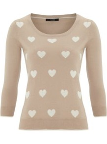Heart Jumper Wheat - style: standard; predominant colour: stone; occasions: casual, work; length: standard; fibres: cotton - 100%; fit: slim fit; neckline: crew; sleeve length: 3/4 length; sleeve style: standard; texture group: knits/crochet; pattern type: fabric; pattern size: standard; pattern: patterned/print