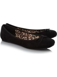 Suedette Ballerina Shoes Black - predominant colour: black; occasions: casual, work; material: suede; heel height: flat; toe: round toe; style: ballerinas / pumps; finish: plain; pattern: plain; embellishment: bow
