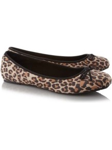 Animal Print Ballerina Shoes Multi - predominant colour: tan; occasions: casual, work; material: fabric; heel height: flat; toe: round toe; style: ballerinas / pumps; finish: plain; pattern: animal print; embellishment: bow
