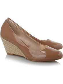 Patent Wedge Shoes Wheat - predominant colour: tan; occasions: casual, work; material: faux leather; heel height: mid; heel: wedge; toe: round toe; style: courts; finish: patent; pattern: plain