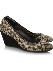 Canvas Wedge Shoes Wheat - predominant colour: black; occasions: casual, work; material: faux leather; heel height: high; heel: wedge; toe: round toe; style: courts; trends: statement prints; finish: plain; pattern: patterned/print