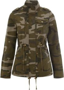 Camouflage Jacket Multi - style: double breasted military jacket; collar: high neck; fit: slim fit; predominant colour: khaki; occasions: casual; length: standard; fibres: cotton - 100%; waist detail: belted waist/tie at waist/drawstring; shoulder detail: discreet epaulette; sleeve length: long sleeve; sleeve style: standard; texture group: cotton feel fabrics; collar break: high; pattern type: fabric; pattern size: big &amp; busy; pattern: patterned/print; embellishment: studs