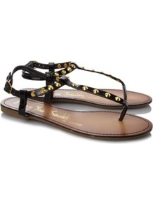 Studded Sandals Black - predominant colour: black; occasions: casual, holiday; material: faux leather; heel height: flat; embellishment: studs; ankle detail: ankle strap; heel: standard; toe: toe thongs; style: flip flops / toe post; finish: patent; pattern: plain