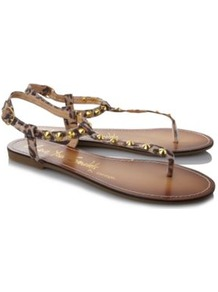 Studded Sandals Animal Print Multi - predominant colour: camel; occasions: casual, holiday; material: fabric; heel height: flat; embellishment: studs; ankle detail: ankle strap; heel: standard; toe: toe thongs; style: flip flops / toe post; finish: plain; pattern: animal print