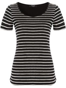 Moda Striped Top Black - neckline: round neck; pattern: horizontal stripes; style: t-shirt; predominant colour: black; occasions: casual; length: standard; fibres: polyester/polyamide - mix; fit: body skimming; sleeve length: short sleeve; sleeve style: standard; pattern type: fabric; pattern size: standard; texture group: jersey - stretchy/drapey