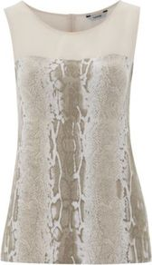 Printed Jersey And Chiffon Top Cream - neckline: round neck; sleeve style: sleeveless; style: vest top; shoulder detail: contrast pattern/fabric at shoulder; predominant colour: stone; occasions: casual, evening, work; length: standard; fibres: viscose/rayon - stretch; fit: body skimming; sleeve length: sleeveless; pattern type: fabric; pattern size: small &amp; busy; pattern: animal print; texture group: jersey - stretchy/drapey