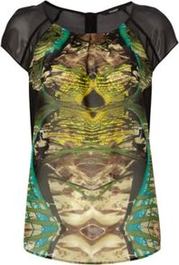 Graduate Fashion Week Printed Top Multi - neckline: round neck; sleeve style: capped; shoulder detail: contrast pattern/fabric at shoulder; predominant colour: chocolate brown; occasions: casual, evening, occasion; length: standard; style: top; fibres: polyester/polyamide - 100%; fit: straight cut; sleeve length: short sleeve; texture group: sheer fabrics/chiffon/organza etc.; bust detail: tiers/frills/bulky drapes/pleats; pattern type: fabric; pattern size: standard; pattern: patterned/print