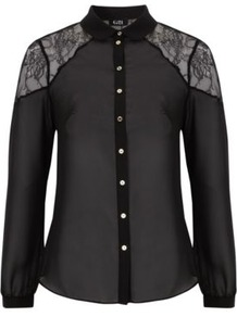 G21 Lace Panel Blouse Black - neckline: shirt collar/peter pan/zip with opening; style: blouse; predominant colour: black; occasions: casual, evening, work; length: standard; fibres: polyester/polyamide - 100%; fit: straight cut; shoulder detail: added shoulder detail; sleeve length: long sleeve; sleeve style: standard; texture group: lace; pattern type: fabric; pattern size: small & light; pattern: patterned/print