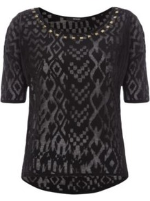 Animal Burnout Jersey Top Black - neckline: round neck; style: t-shirt; predominant colour: black; occasions: casual, evening; length: standard; fibres: cotton - mix; fit: straight cut; sleeve length: short sleeve; sleeve style: standard; pattern type: fabric; pattern size: big &amp; busy; pattern: patterned/print; texture group: jersey - stretchy/drapey; embellishment: studs