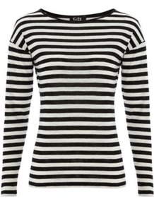 G21 Striped Jersey Top Black - pattern: horizontal stripes; style: t-shirt; predominant colour: black; occasions: casual; length: standard; fibres: cotton - mix; fit: body skimming; neckline: crew; sleeve length: long sleeve; sleeve style: standard; pattern type: fabric; pattern size: standard; texture group: jersey - stretchy/drapey